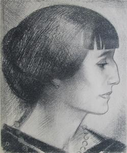 ДАВЫДОВ Анатолий (1923-2009). Анна  Ахматова. Автолитография